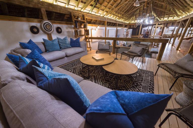 Interior decor of main lounge area at Kwara Splash Camp