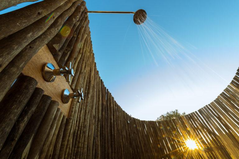 An al fresco shower is a highlight at Splash Camp