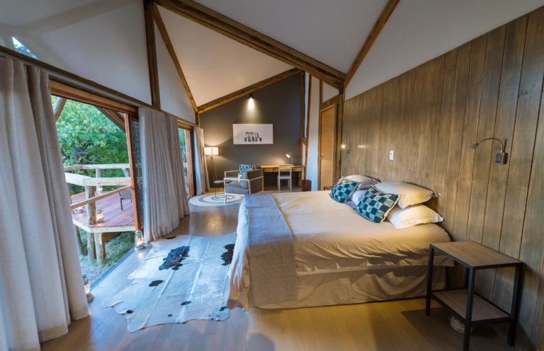 Interior decor of guest room at Splash Camp