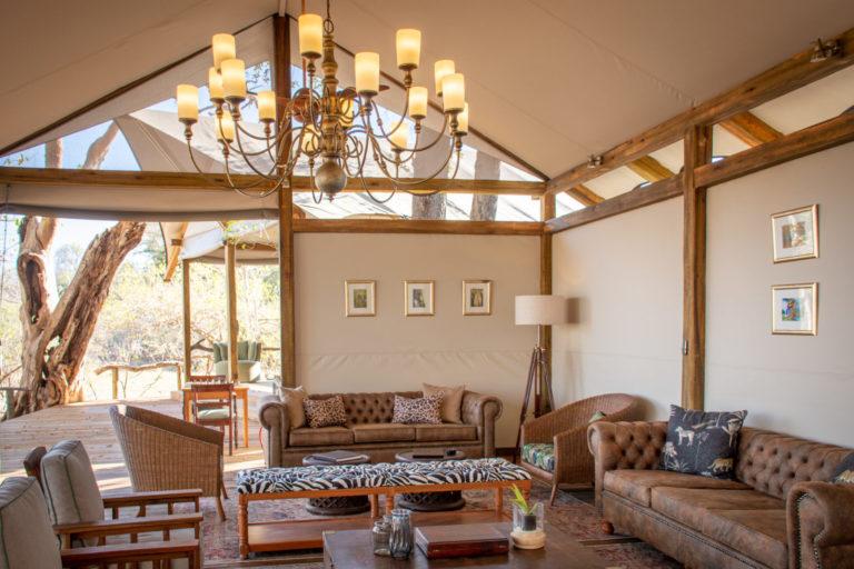 The spacious lounge area at Kwara Camp