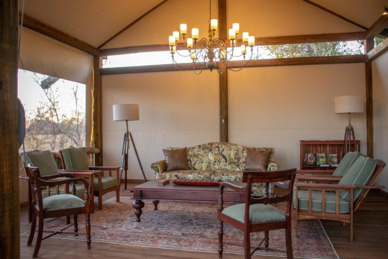 Guest seating area at Kwara Camp