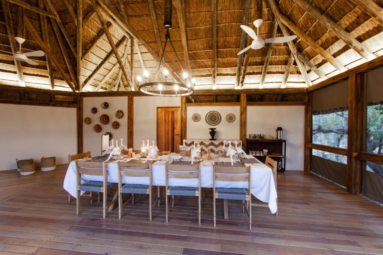 Thatched dining area at Kwando Splash Camp