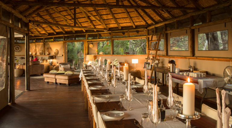 Thatched roof dining area at Setari Camp