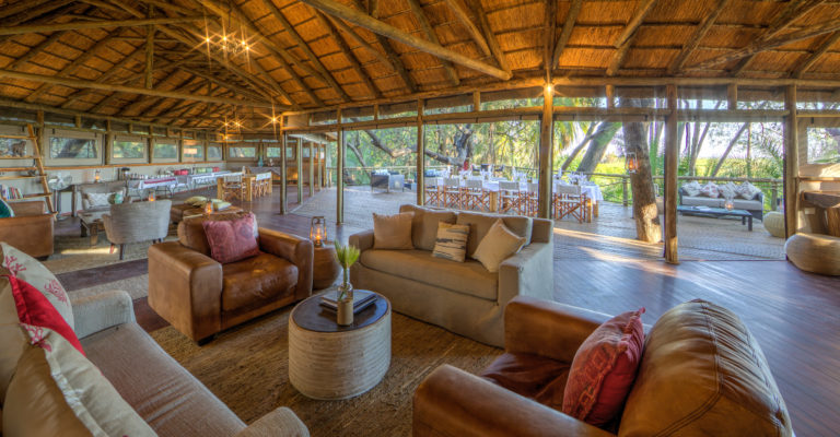 The airy seating area at Setari has splendid views over the surrounding wilderness