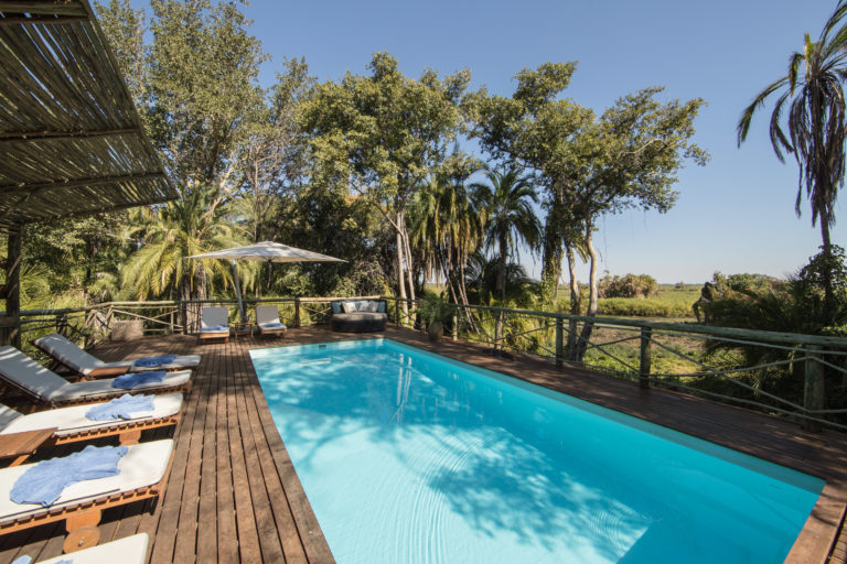 The luxurious shaded swimming pool and deck at Setari Camp