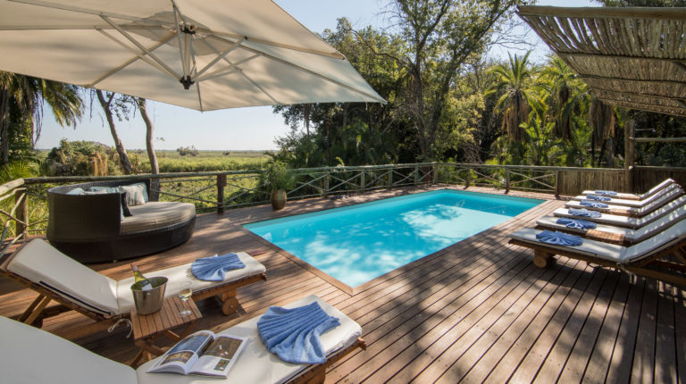 Shaded swimming pool and sun loungers delight guests with its perfect setting