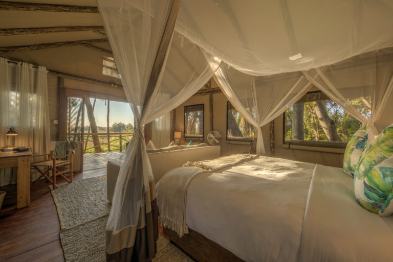 The guest suites at Setari Camp are stylishly elegant with free standing baths and outside showers