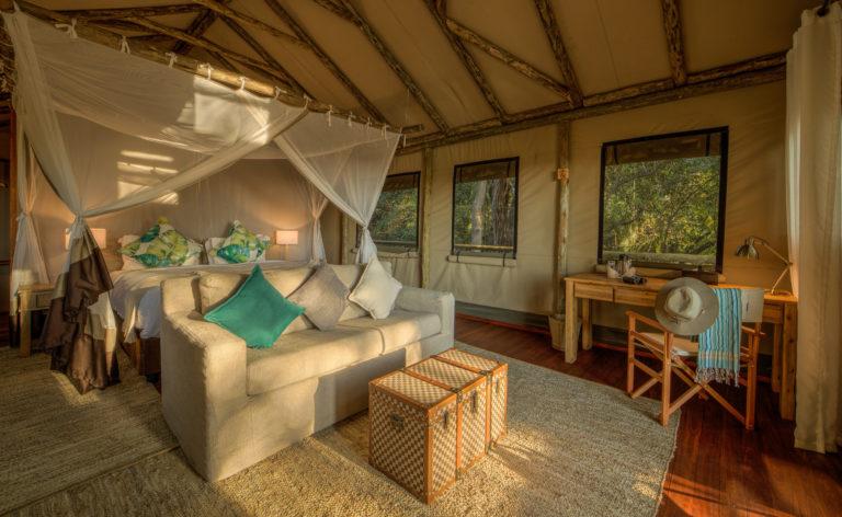 Full view of guest tent interior at Setari Camp