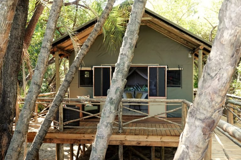 Exterior view of guest tent with private deck at Setari Camp