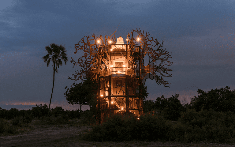 A baobab sculptured treehouse where guests can sleepout while at Xigera Safari Lodge