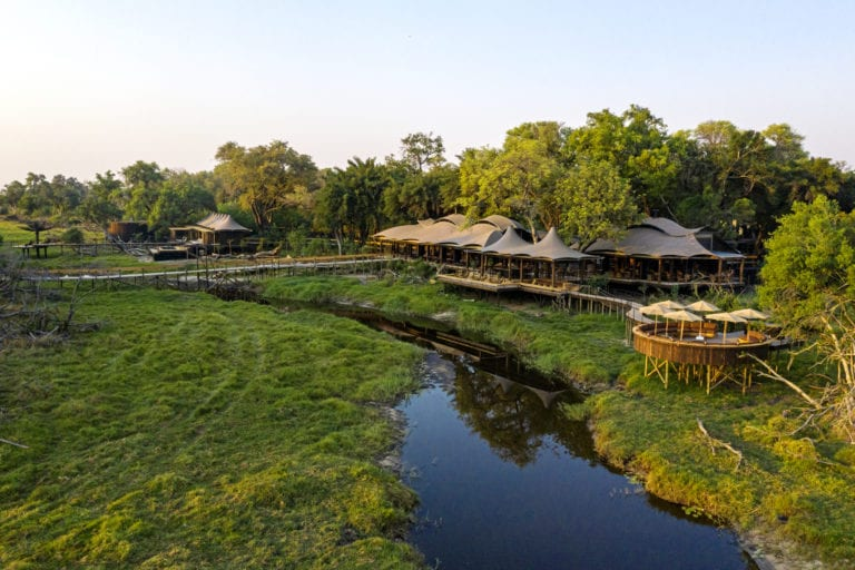 Aerial view of Xigera Safari Lodge overlooking the Okavango waterways