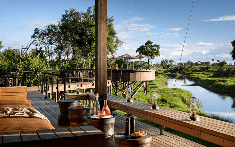 The pavilion at Xigera Safari Lodge makes the most of the spectacular views