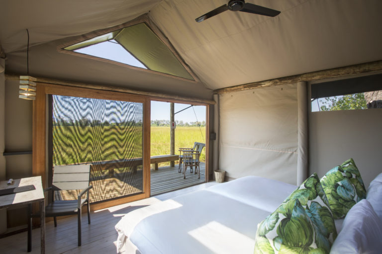 The guest rooms at Jackal and Hyde Camp are neat and comfortable with great views