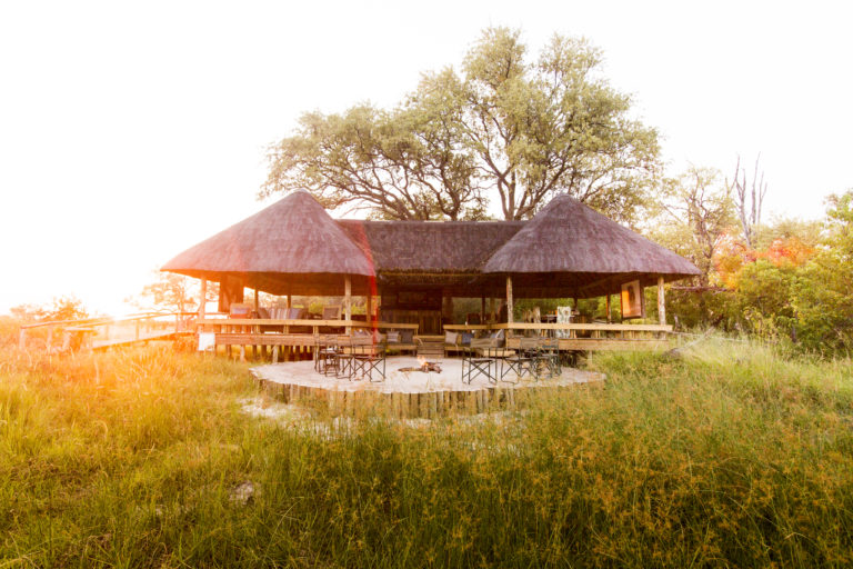 Jackal and Hyde Camp is nestled amongst tree in the game rich Khwai Private Game Reserve
