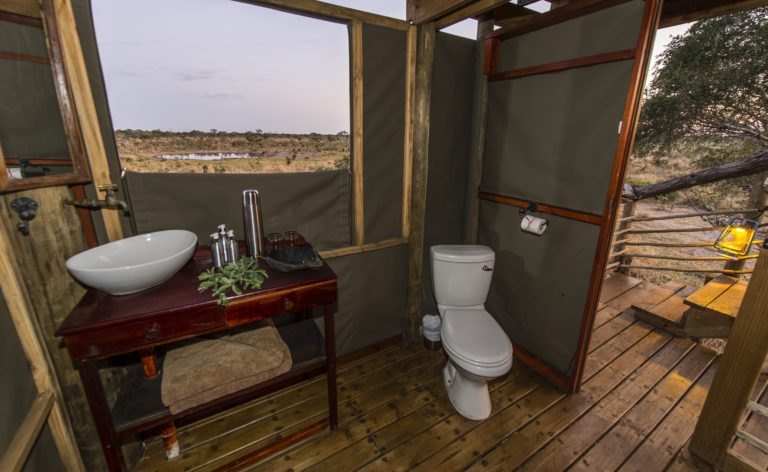 Bathroom with a view at Skybeds