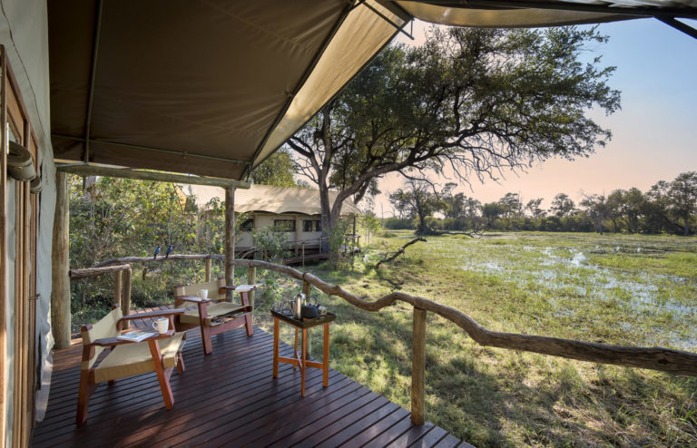 Khwai guest tent with splendid river view from private deck