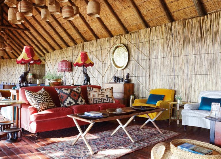 Colourful decor of the main area at Mapula Lodge