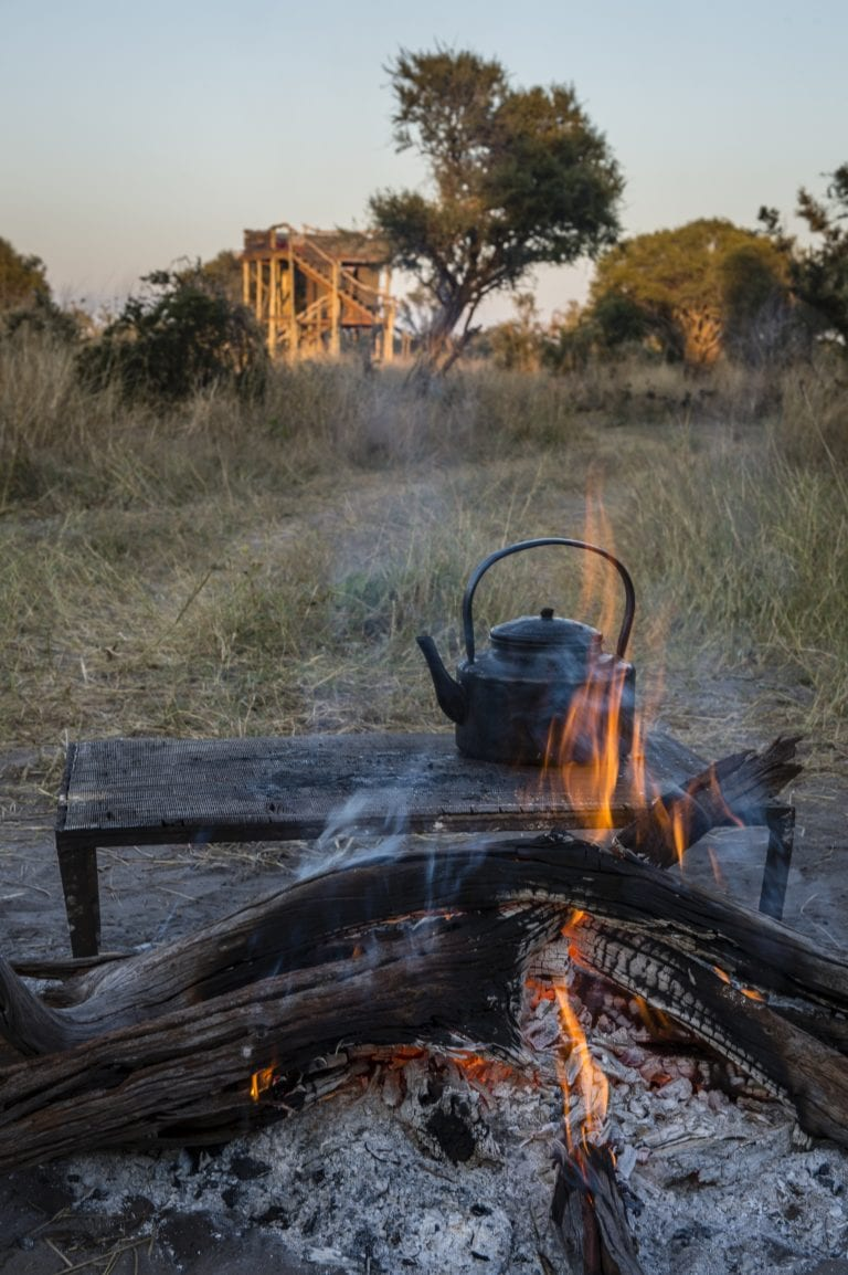 Early morning coffee brewing over fire at Skybeds