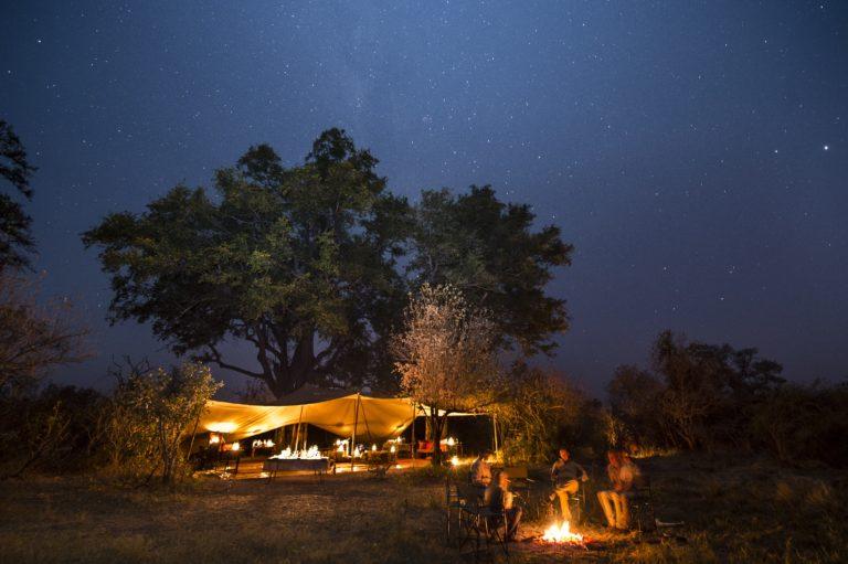 Okavango Mobile Expeditions evening camp fire scene
