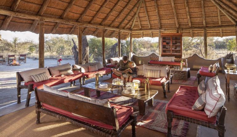 The lounge area at Camp Kalahari provides space for guests to relax