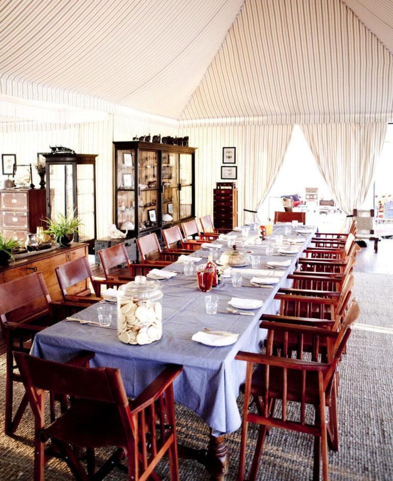 Elegant dining area in white at San