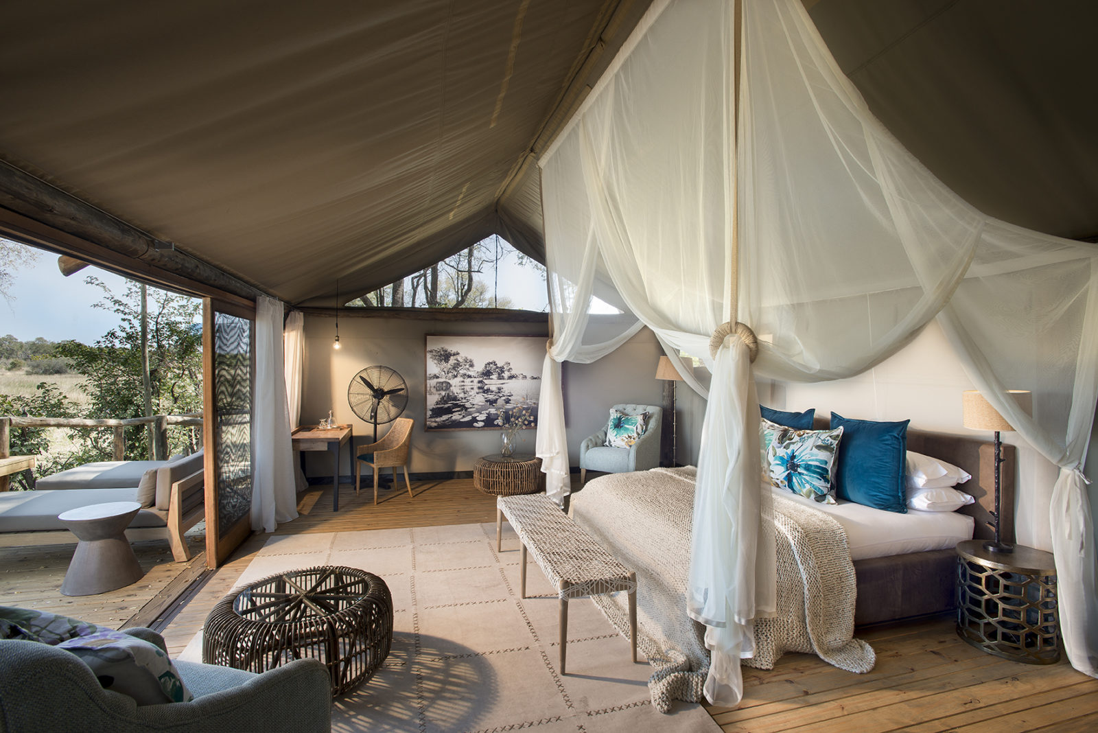 Inside the beautifully spacious honeymoon suite at Sable Alley