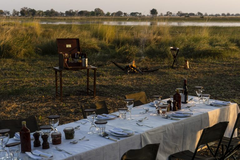 Okavango Mobile Expeditions wilderness dinner with a view