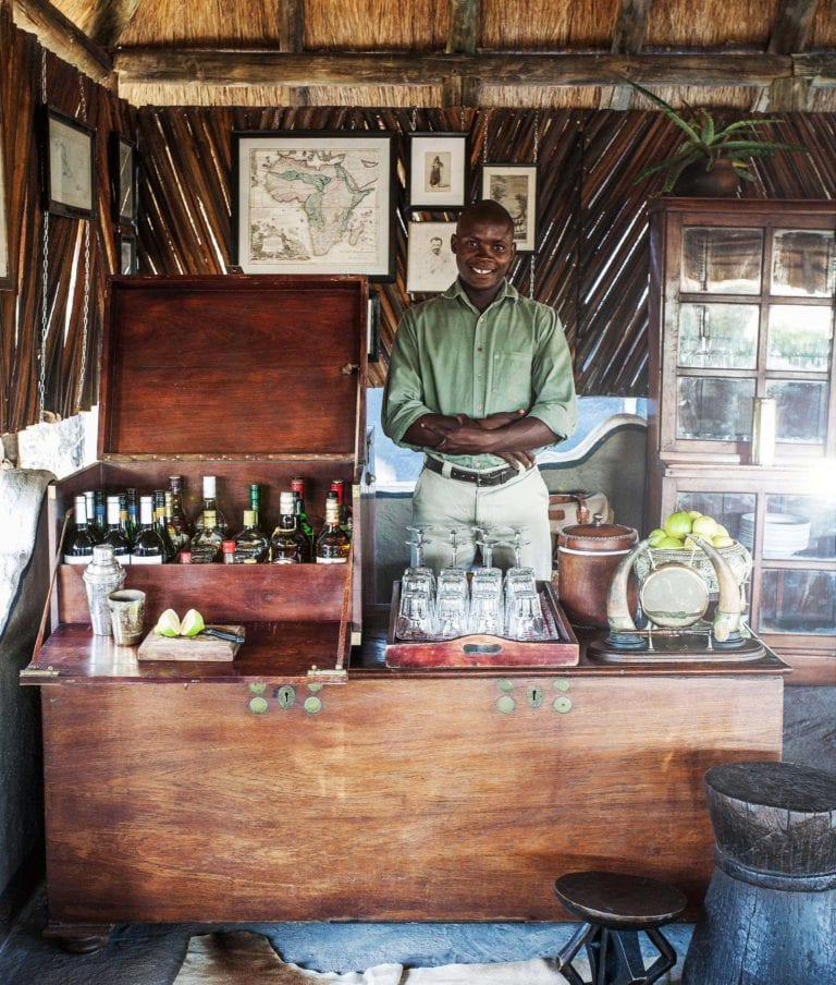 The bar area at Camp Kalahari is serviced by friendly staff