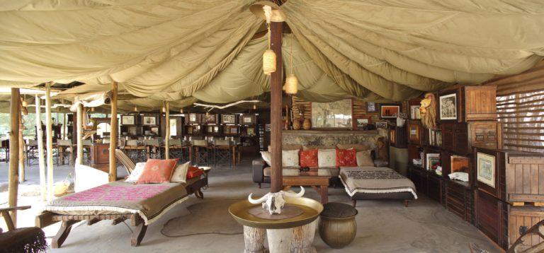 Meno a Kwena's welcoming bedouin style lounge area