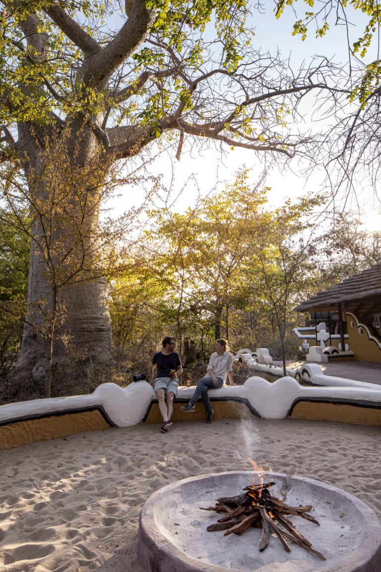 Planet Baobab's campfire and guest seating