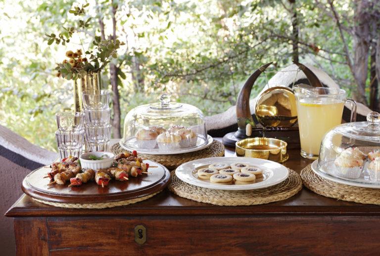 Afternoon high tea spread at Camp Kalahari