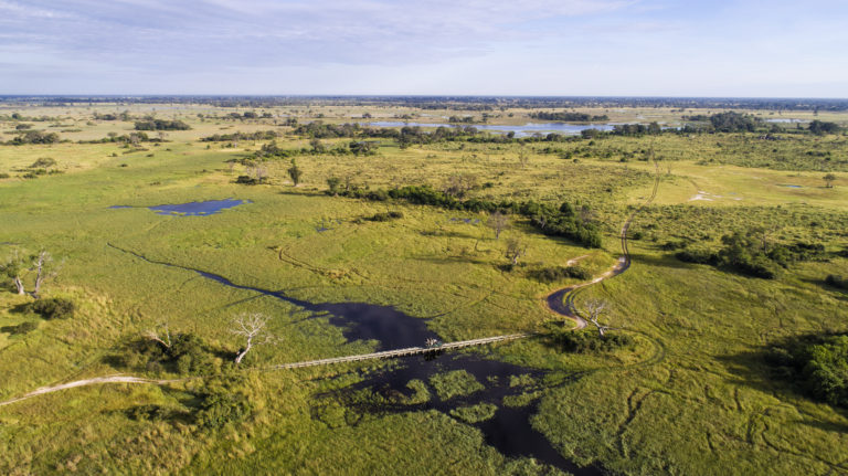 View of the stunning Okavango Delta from the air