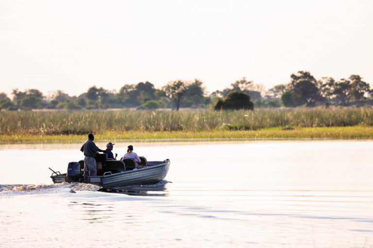 Boating activities are offered between May and October at Mapula Lodge