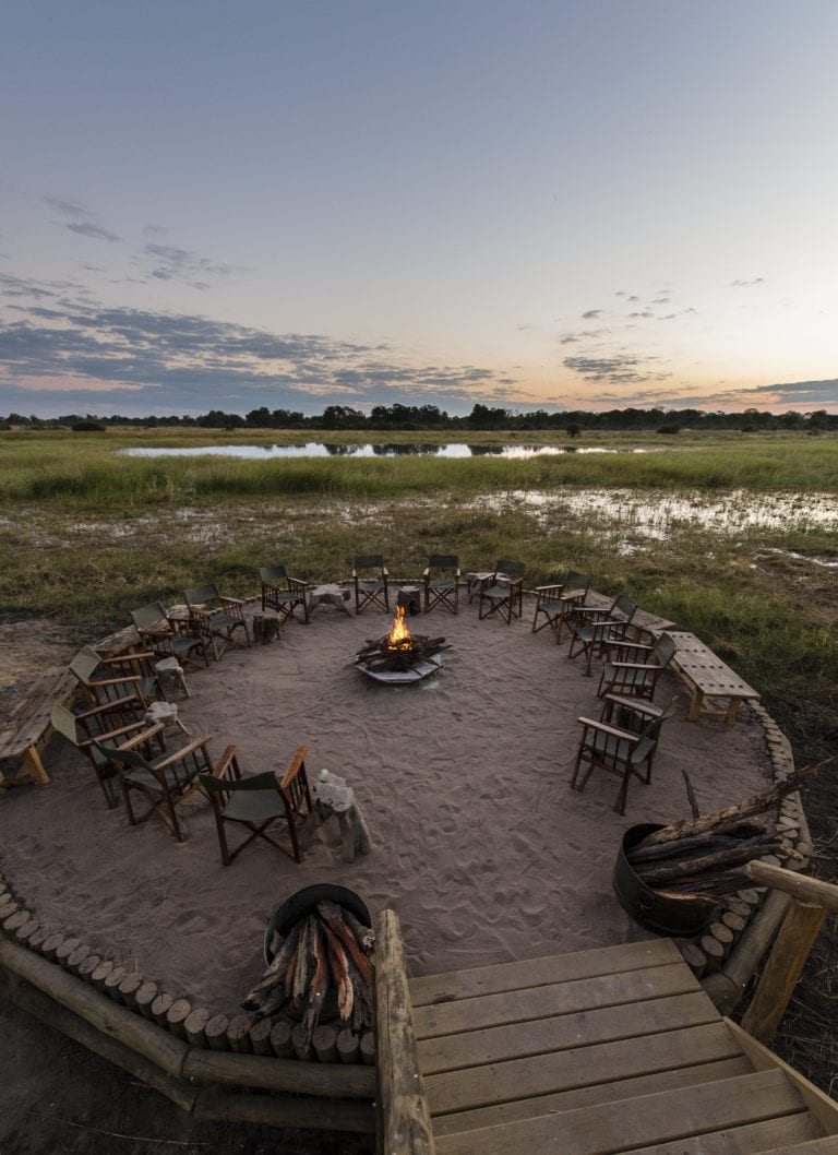 Sable Alley's fire pit enjoys extraordinary vistas over the Khwai Private Reserve
