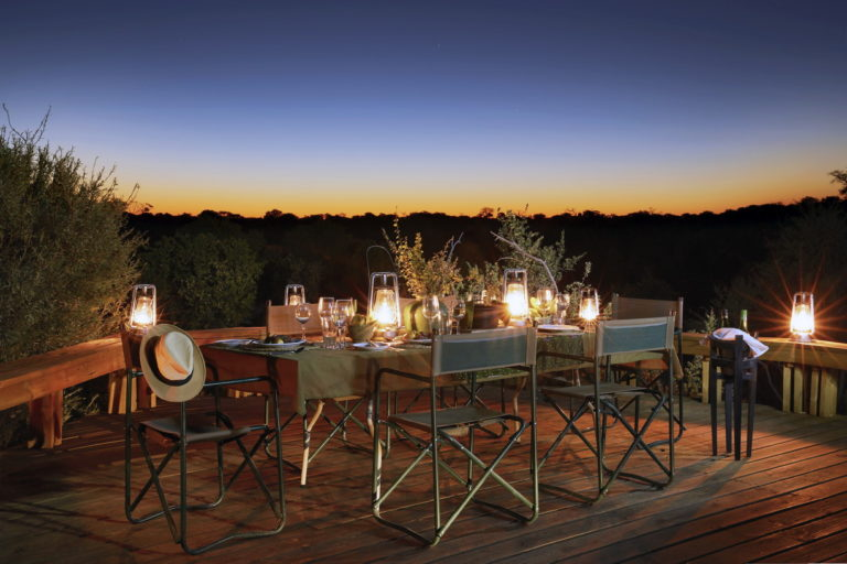 Dinner ambience under African Skies at Skybeds
