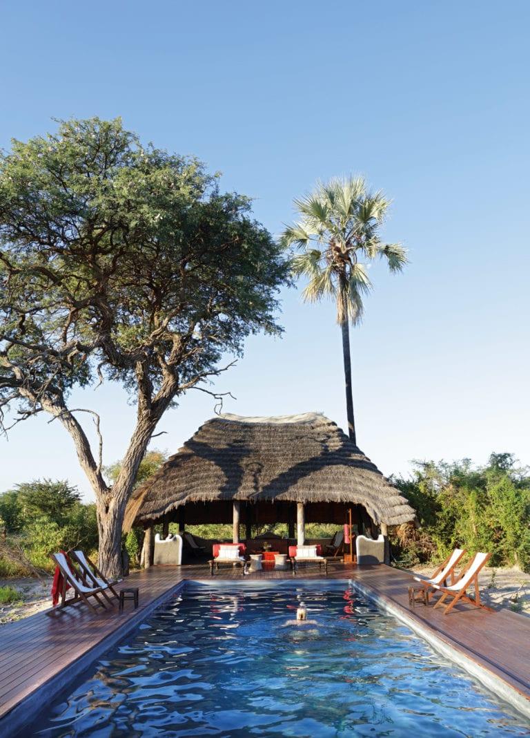 The lengthy swimming pool at Camp Kalahari