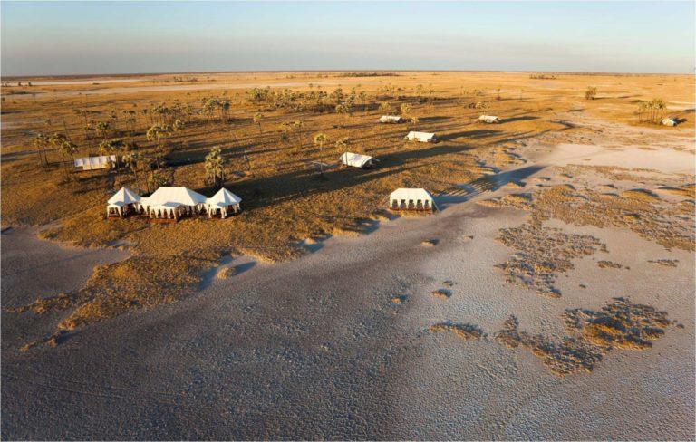 Aerial view of San Camp Lodge located in the Makgadikgadi