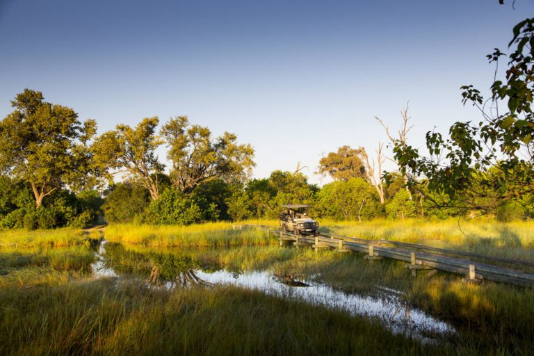 Crossing the many waterways on the Khwai Private Reserve