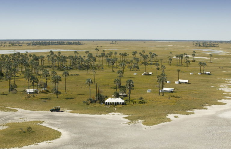 Aerial view of the white tents of San Camp