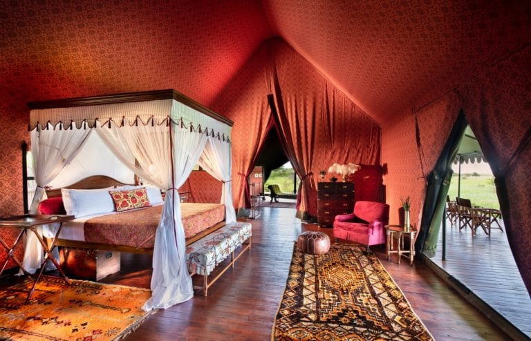 Luscious interiors in the bedroom of the guest tents at Jack's Camp