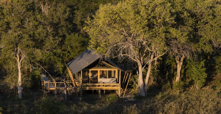The spacious guest tents at Sable Alley with African styled decor