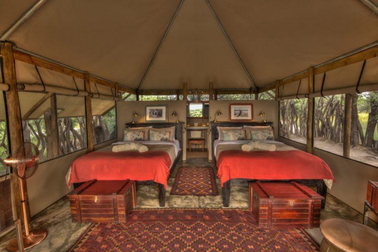 Guest room interior at Meno a Kwena