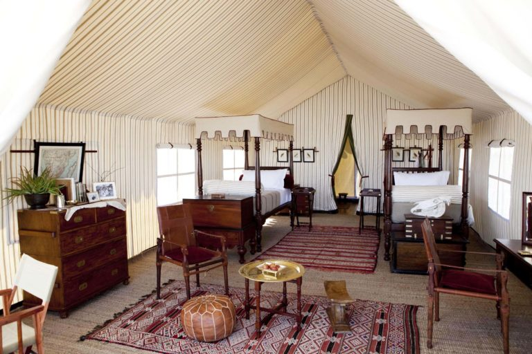 The interiors of the tents at San Camp are solar lit