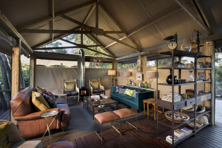 Guest lounge area at Khwai Leadwood Camp