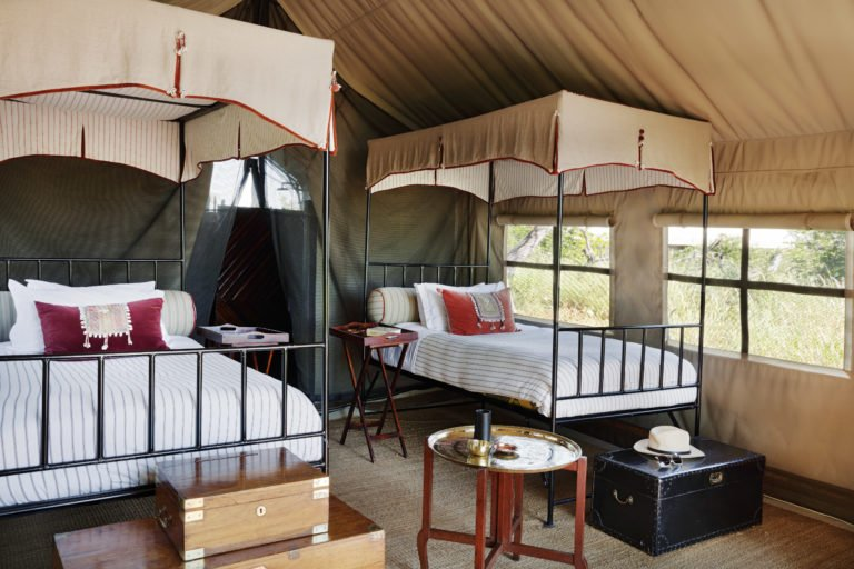 Camp Kalahari twin bedded tent with a view