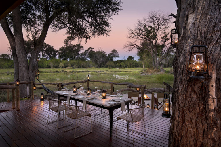 Outside dining area in early evening hour at Khwai Leadwood Camp