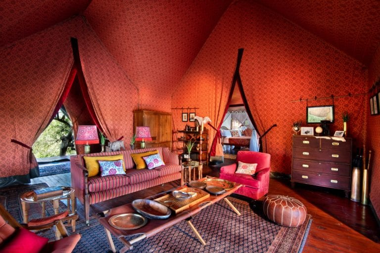 Guest tent interior at Jack's Camp