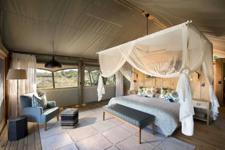 Interior decor of twin tent at Sable Valley