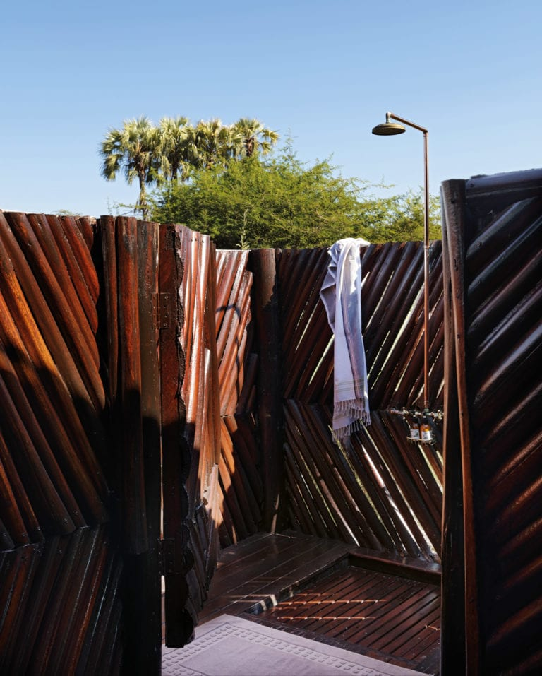 Outdoor showers at Camp Kalahari are popular with guests