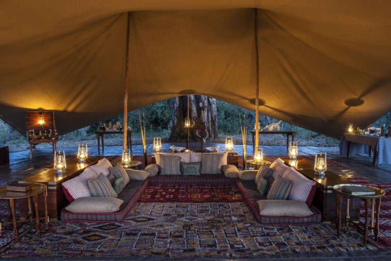 Okavango Mobile Expeditions the luxurious tea tent at night
